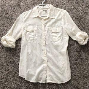 Calvin Klein button up off white shirt